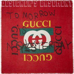 GUCCI red COCO CAPITAN Logo TOMORROW modal scarf